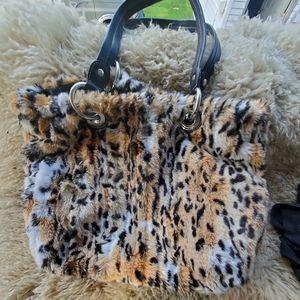 B Makowsky Cheetah Leopard Faux Fur Leather Tote